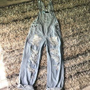 🆕denim stripped ripped overalls